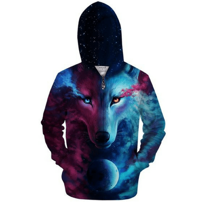 Sweat zippé loup lune