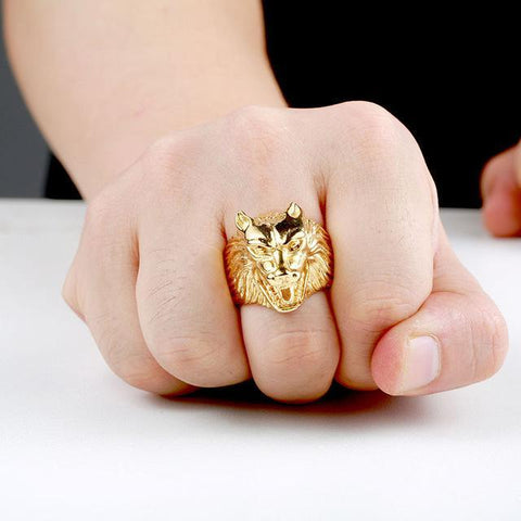 Bague loup or