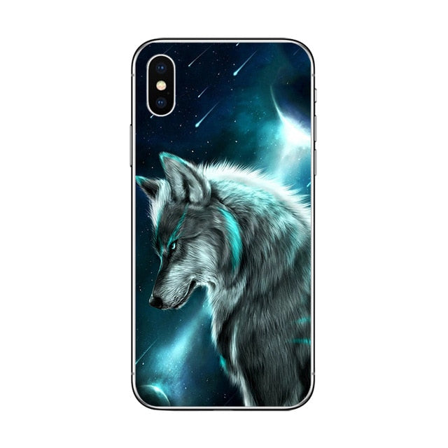Coque iPhone loup constellation