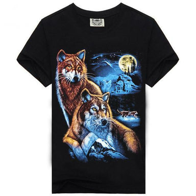 T-shirt loup lune homme