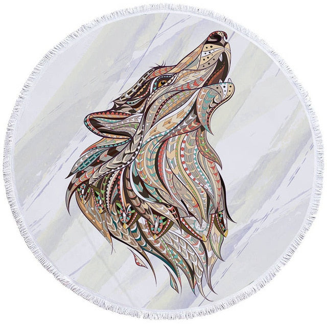Serviette de bain loup tribal