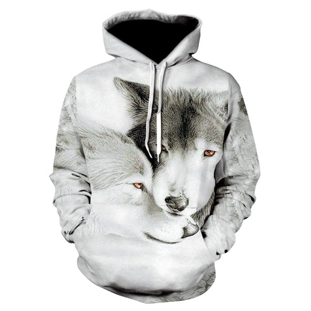 Sweat loup capuche gris