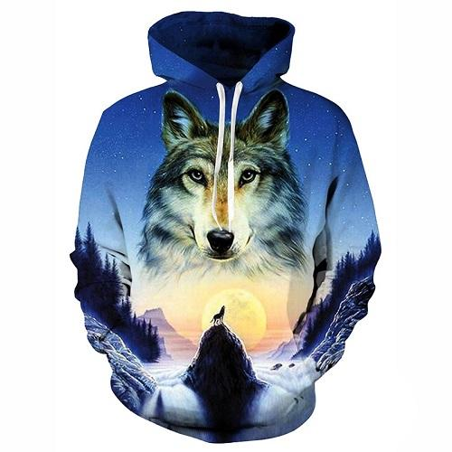 Pull loup tête loup gris