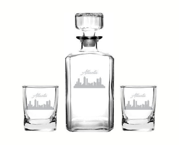 Atlanta Georgia Decanter Rocks Glass Set