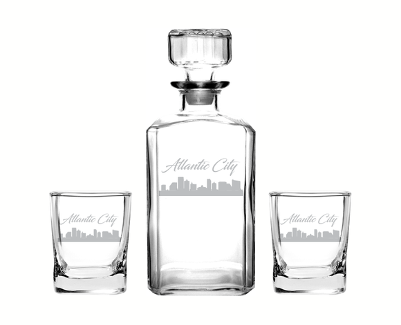 Atlantic City New Jersey Decanter Rocks Glass Set