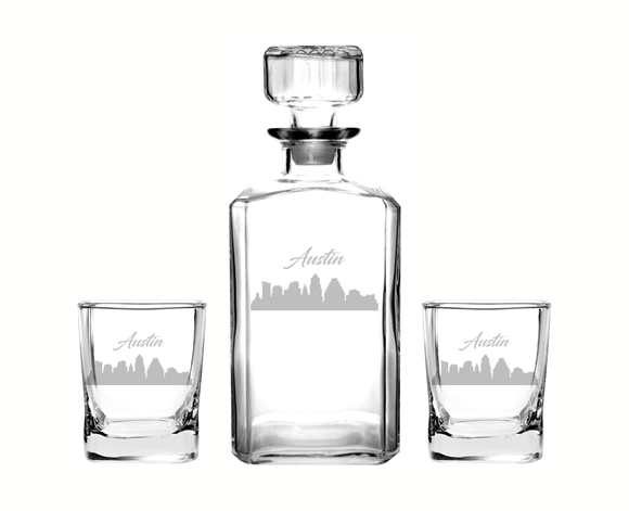 Austin Texas Decanter Rocks Glass Set