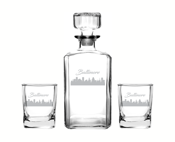 Baltimore Maryland Decanter Rocks Glass Set