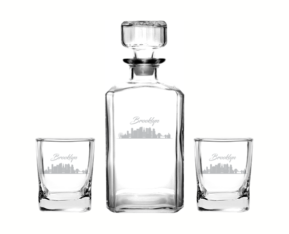 Brooklyn New York Decanter Rocks Glass Set