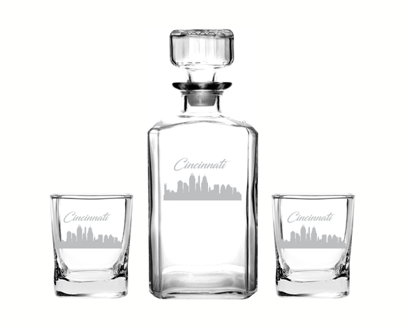 Cincinnati Ohio Decanter Rocks Glass Set
