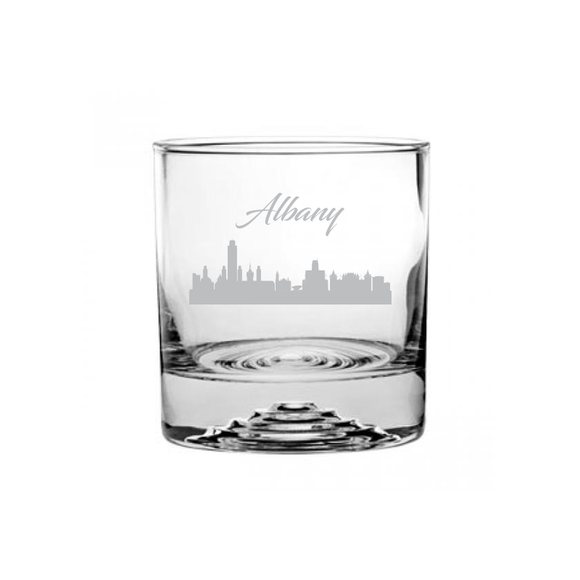 This is a rocks glass etched with a skyline silhouette of the City of Albany Georgia Cityscape.