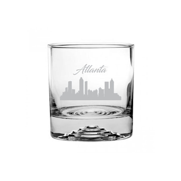This is a rocks glass etched with a skyline silhouette of the City of Atlanta Georgia Cityscape.