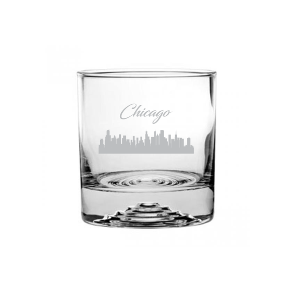 Chicago Illinois Cityscape Etched Rocks Glass