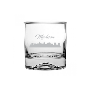 Madison Wisconsin Cityscape Etched Rocks Glass