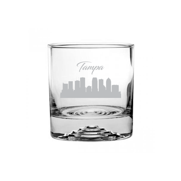 Tampa Florida Cityscape Etched Rocks Glass
