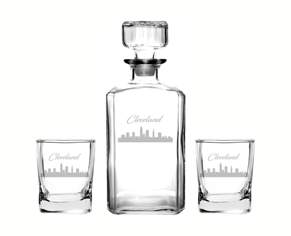 Cleveland Ohio Decanter Rocks Glass Set