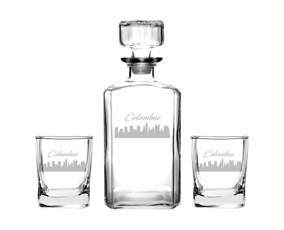 Columbus Ohio Decanter Rocks Glass Set