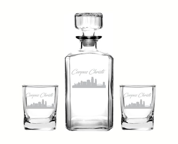 Corpus Christi Texas Decanter Rocks Glass Set