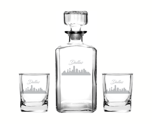 Dallas Texas Decanter Rocks Glass Set