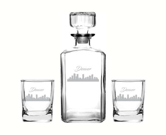 Denver Colorado Decanter Rocks Glass Set