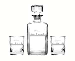 Fresno California Decanter Rocks Glass Set