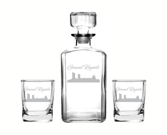 Grand Rapids Michigan Decanter Rocks Glass Set