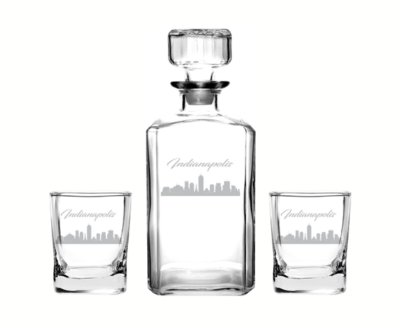Indianapolis Indiana Decanter Rocks Glass Set