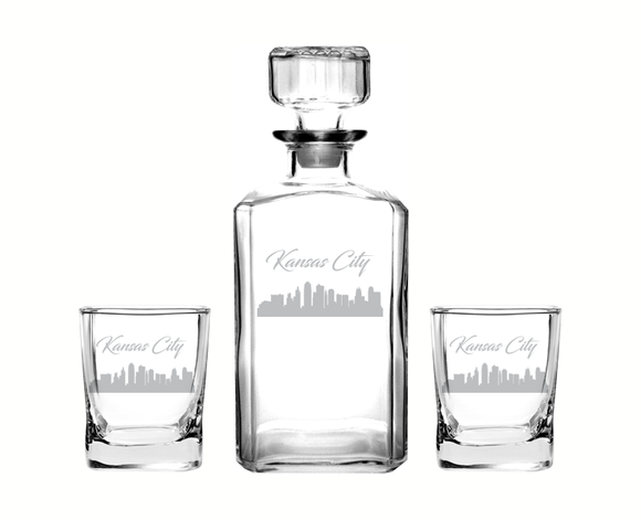 Kansas City Missouri Decanter Rocks Glass Set