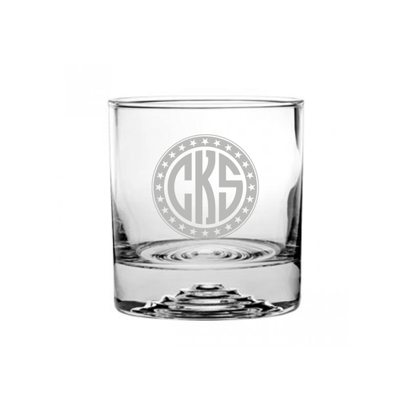 Circle Monogrammed Etched Rocks Glass