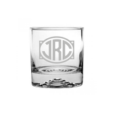 Oval Monogrammed Etched Rocks Glass
