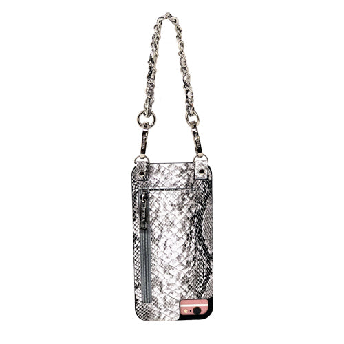 Collette | Wristlet | Metal chain strap | grey embossed snake vegan leather| Hera cases