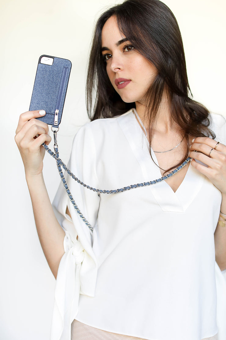 Charlize | Metal chain strap with jean material | Hera cases