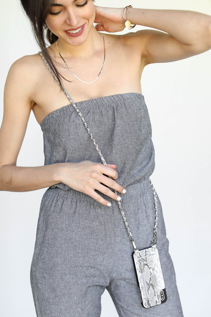Collette | Metal chain strap | grey embossed snake vegan leather | Hera cases