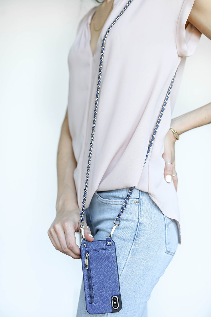 Celeste | Metal chain strap | Blue Vegan leather | Hera cases