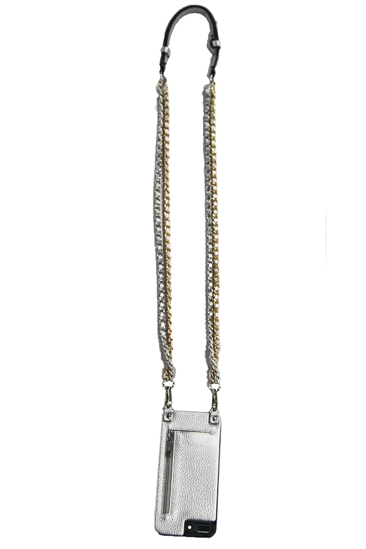 Crystal | Double Metal chain strap | metallic silver vegan leather | Hera cases