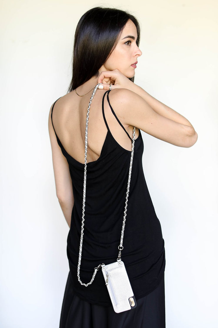 Casi | Metal chain strap | Metallic silver vegan | Hera cases