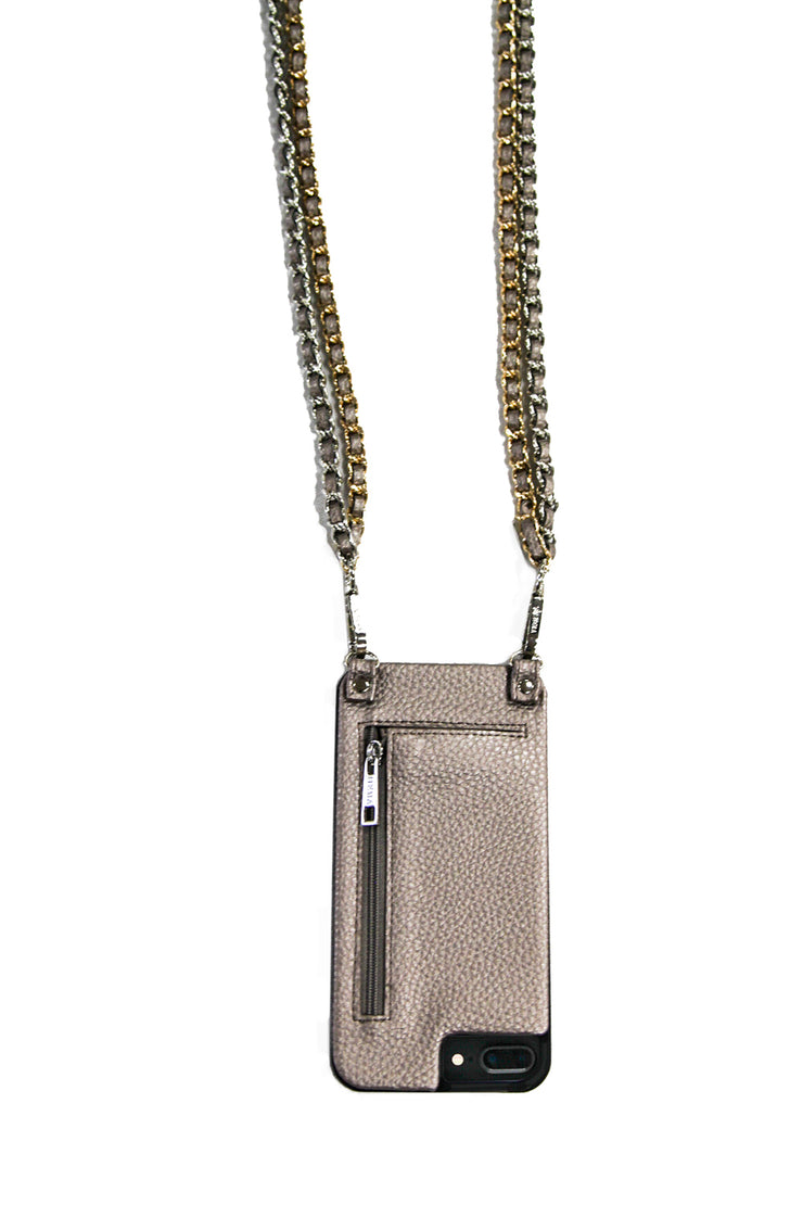 Caroline | Double Metal chain strap | bronze vegan leather | Hera cases