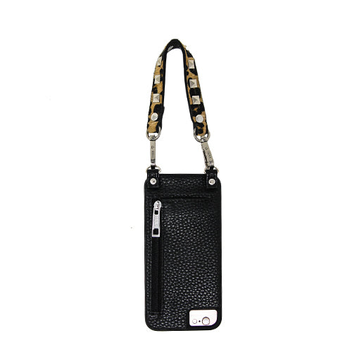 Leah |  Wristlet | Leopard pony hair snake skin | silver square studs | Hera cases