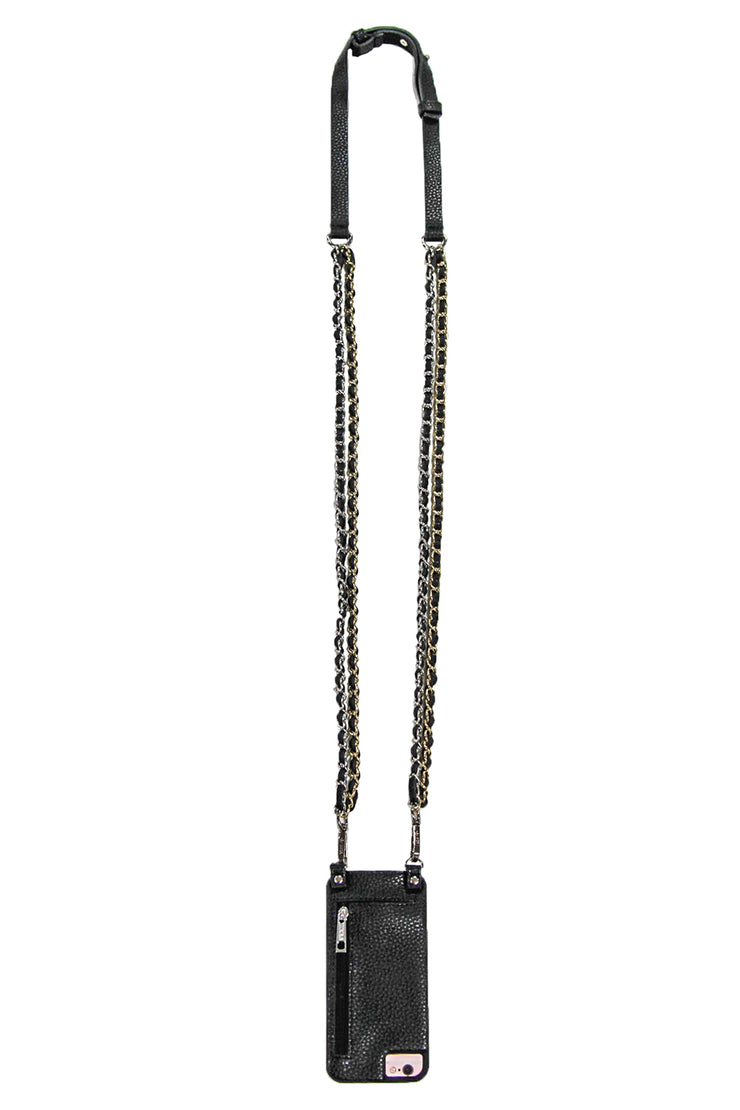 Cassandra | Double Metal | Chain Strap Silver | Black vegan leather | Hera cases