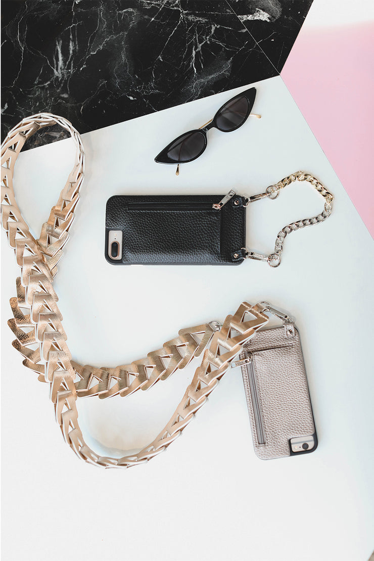 Madison |  Wristlet | Long two-toned | Silver & Gold metal link chain strap | Hera cases