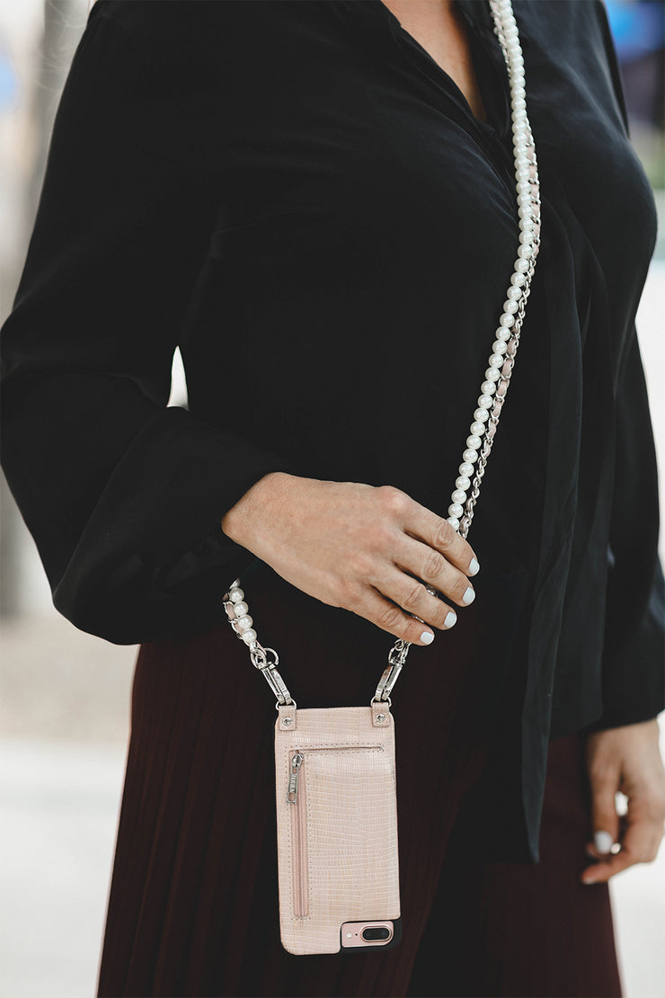 Chelsea | Metal chain strap with blush pink | lizard vegan leather | Hera cases