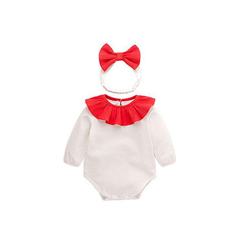 Cotton Bodysuit + Head Band (2-Piece) - Red