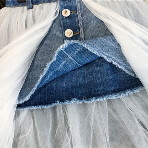 Denim Skirt with Long Lace