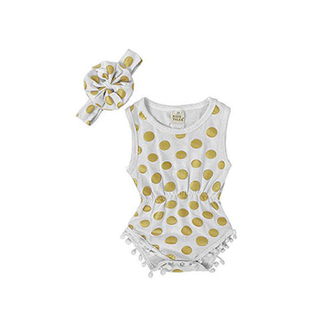 Polka Dot Romper + Head Band (2 Piece Set) - White