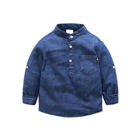 Denim Mandarin Collar