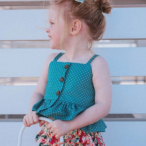 Polka Top & Irregular Floral Skirt