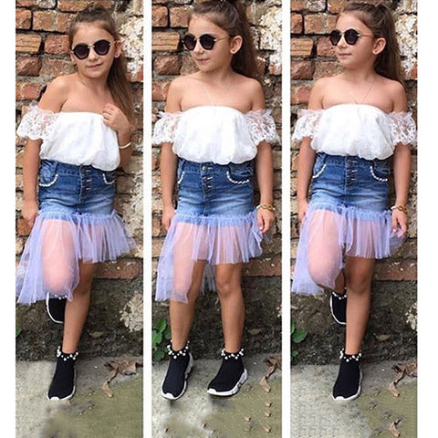 Off Shoulder Top + Denim Skirt