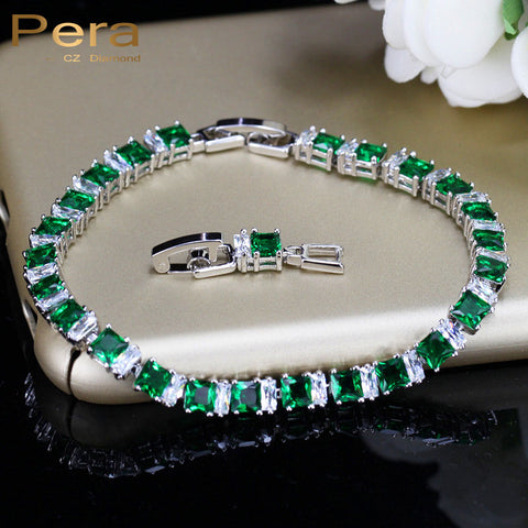 925 Sterling Silver 8 Color Options Green Crystal Stone Bracelet