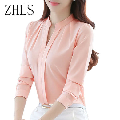 Blusa feminina -Spring Autumn -Tops Long Sleeve Casual Chiffon
