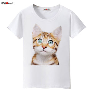 Camiseta Feminina - BGtomato Super cute 3D cats