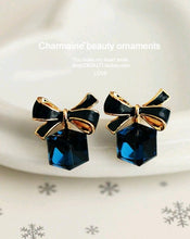 Brincos de strass-  Tomtosh Blue Kiss Gold Bow Cubic Crystal Earrings Gold-Tone